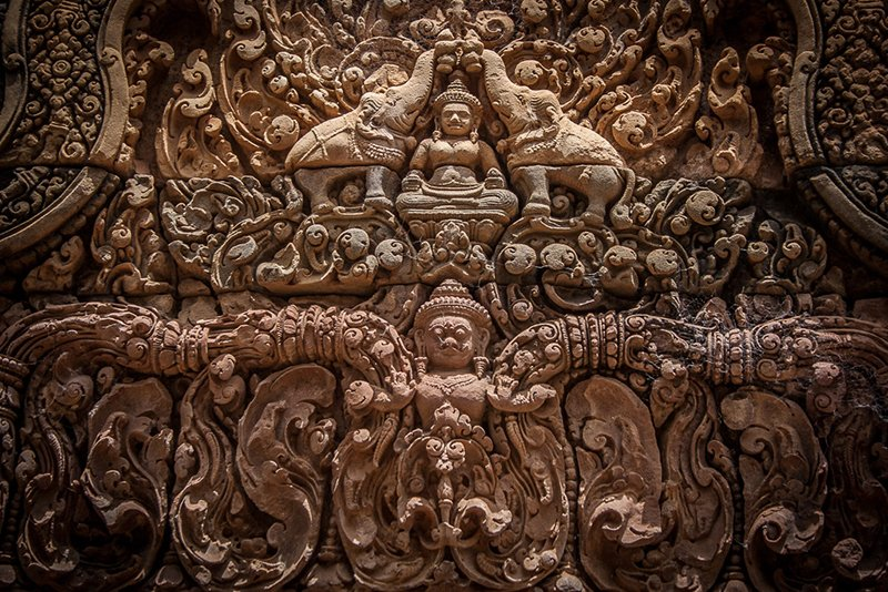 Incisioni del tempio Banteay Srei