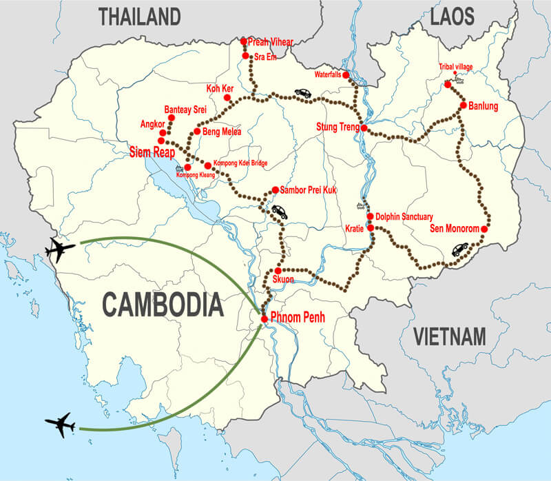 Itineraries-maps-Cambodia-Angkor-and-remote-provinces