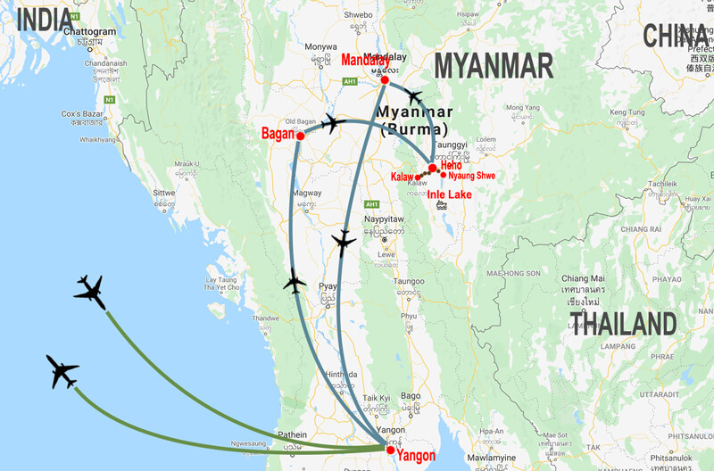 Grand-tour-Myanmar - map © In Asia Travel