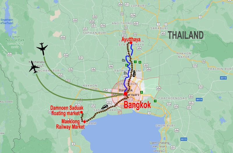 Best of Bangkok tour - map © In Asia Travel