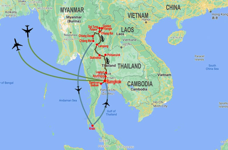 Incredible Thailand tour - map © In Asia Travel