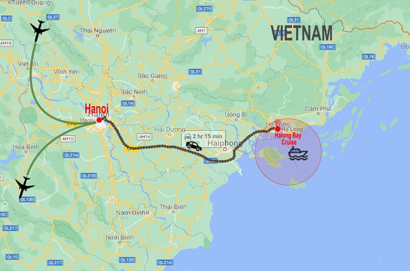 Map Tour North Vietnam and Halong Bay © In Asia Travel