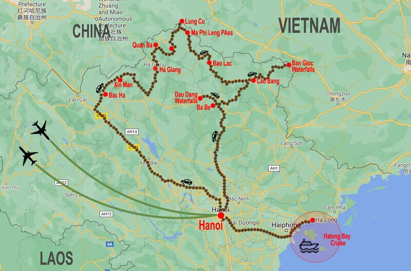 North East Vietnam tour map © In Asia Travel