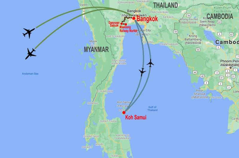 Bangkok and Koh Samui tour - map © In Asia Travel