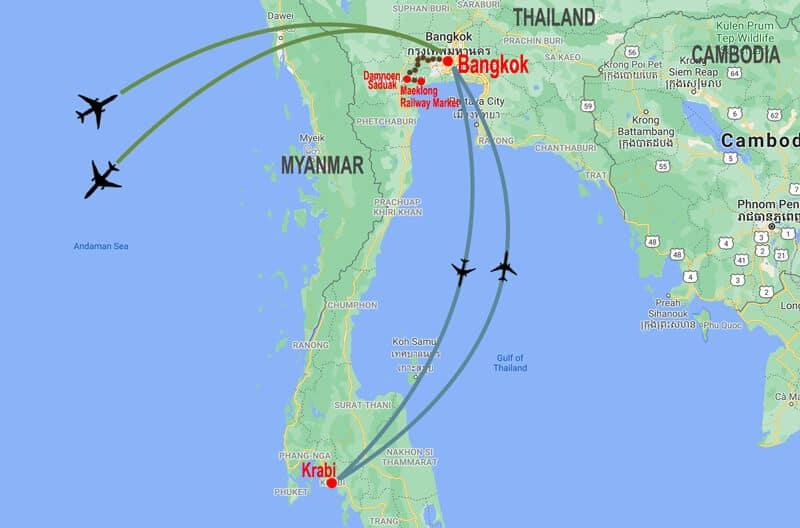 Bangkok and Krabi  tour - map © In Asia Travel