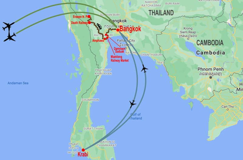 Central Thailand and beach extension tour - map © In Asia Travel