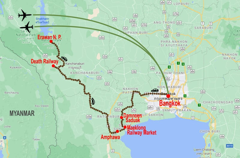 Central Thailand and beach exten tour - map © In Asia Travel