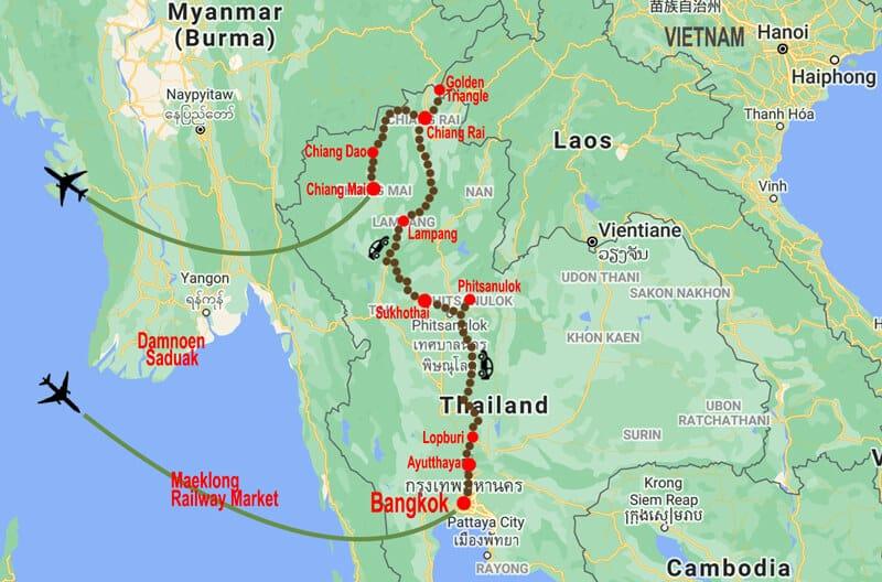 Amazing Thailand tour - map © In Asia Travel
