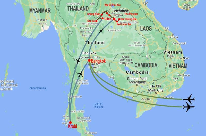 Enchanting Isan tour - map © In Asia Travel